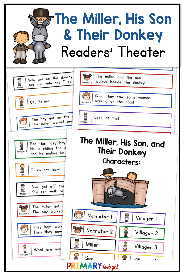 The Miller His Dog And Their Donkey Readers Theater Use This Fun Readers Theater Script F Readers Theater First Grade Reading High School Art Lesson Plans [ 1170 x 780 Pixel ]