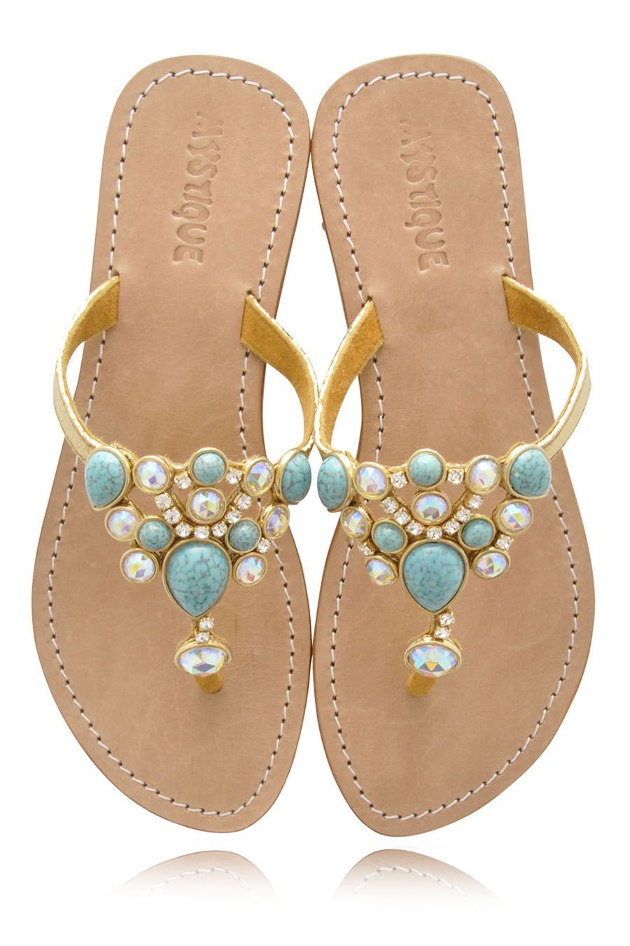 Mystique turquoise jeweled sandals womenshoes beach for Flat dress sandals for weddings