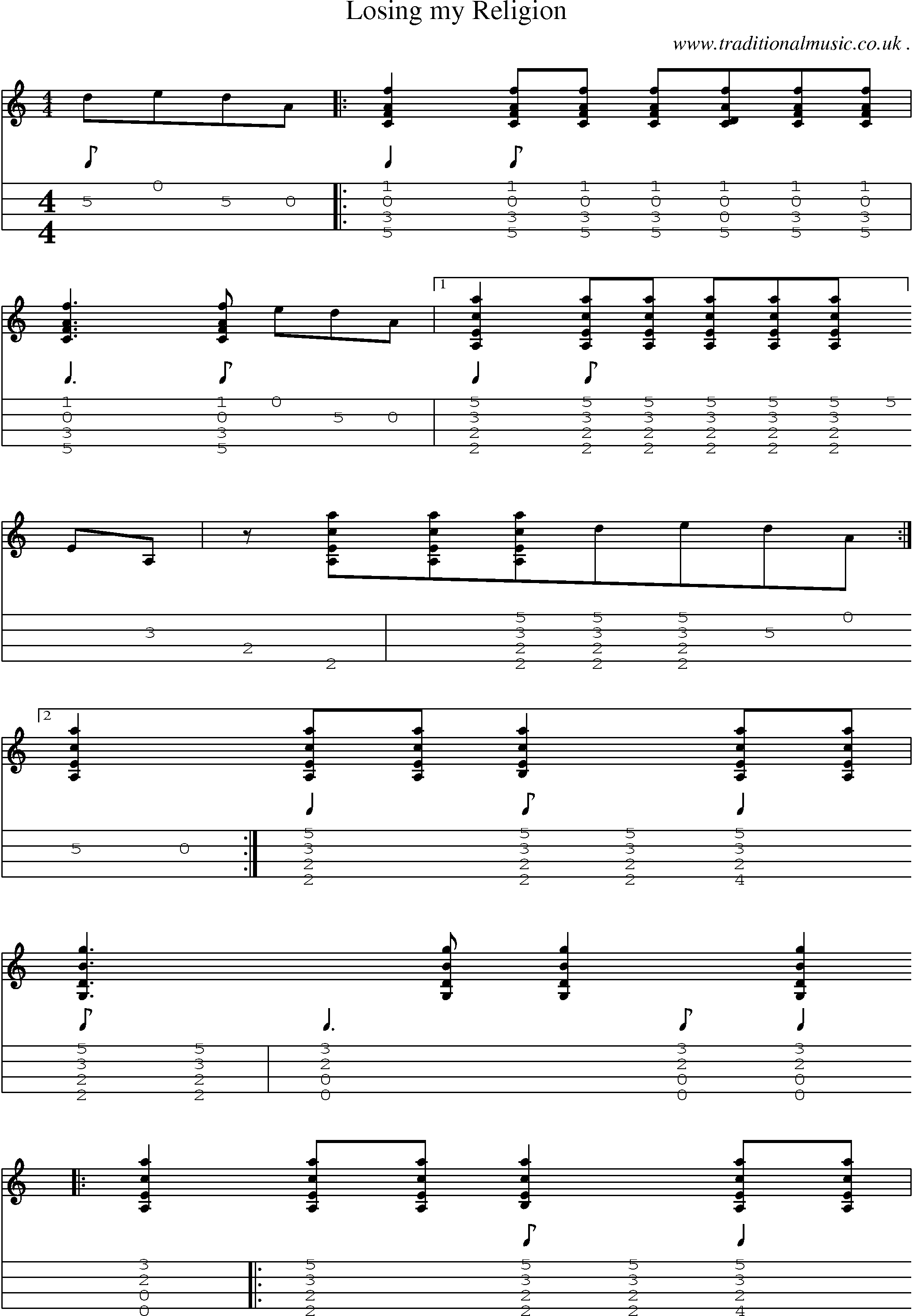 Music score and guitar tabs for losing my religion sheet music music score and guitar tabs for losing my religion hexwebz Images