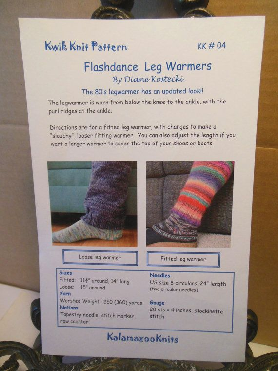 Kwik Knit Knitting Pattern Flashdance Leg Warmers By Karkarskorner