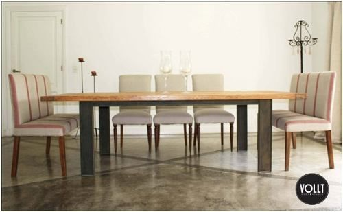 vollt hermosa mesa comedor madera base de hierro xx