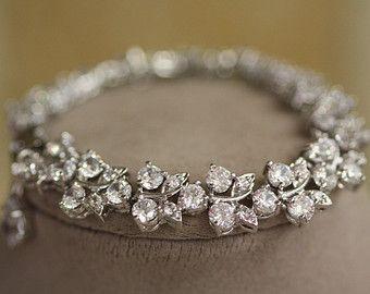 Bridal Bracelet Cubic Zirconia Wedding Cuff Crystal Leaf Clear Swarovski Link