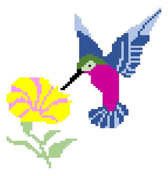 C2C graph Hummingbird and Flower c2c crochet graph pattern with row ...