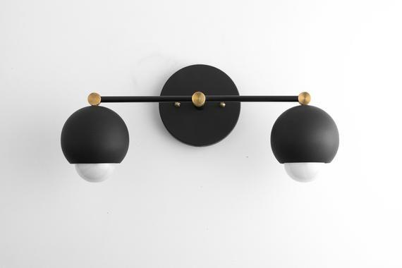Photo of Black Modern Light – Black Gold Vanity – Mid Century Vanity – Bathroom Light – Black Modern Light – Black Globe Light – Model # 4208