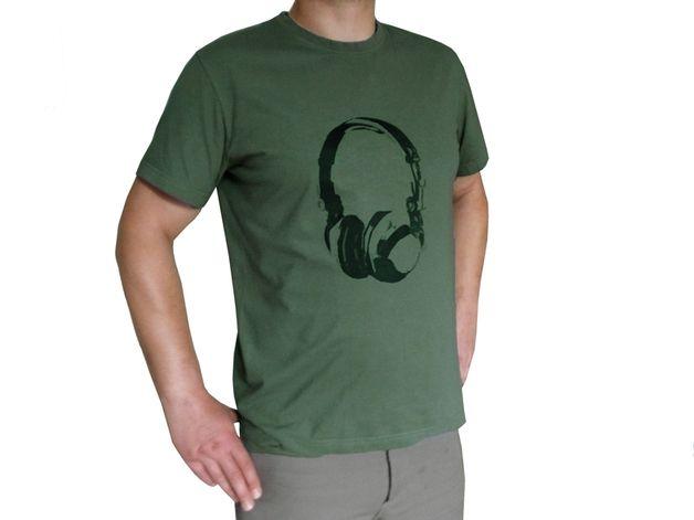 T-Shirts - Kopfhörer, Bio Männer T-Shirt, 3XL - ein Designerstück von cherry_bomb bei DaWanda