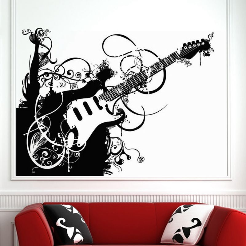 Dance party guitar wall sticker rock car name stickers pub ktv decal home decoration mural band