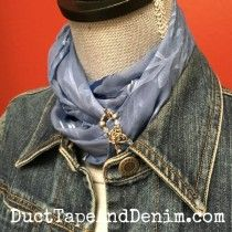How to wear a skinny scarf. This style uses a Lilla Rose flexi clip too. | DuctTapeAndDenim.com