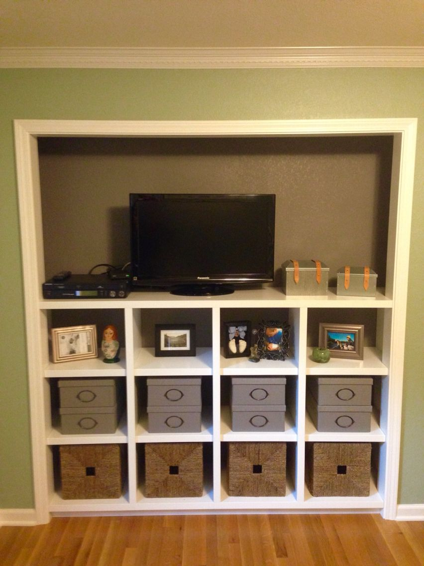 Closet Space Turned Into A Built In Entertainment Center