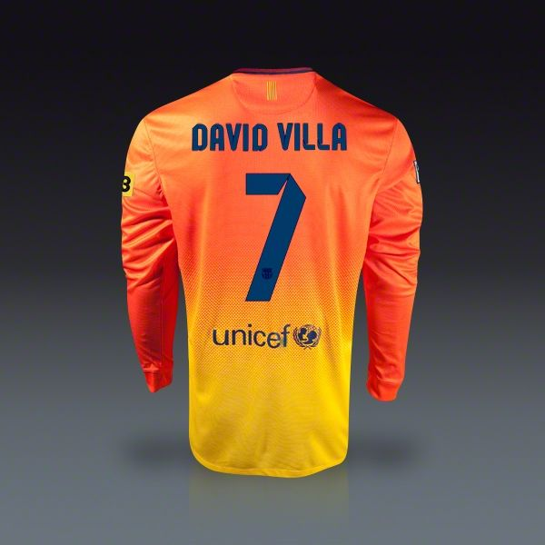 Nike David Villa Barcelona Long Sleeve Away Jersey 12/13