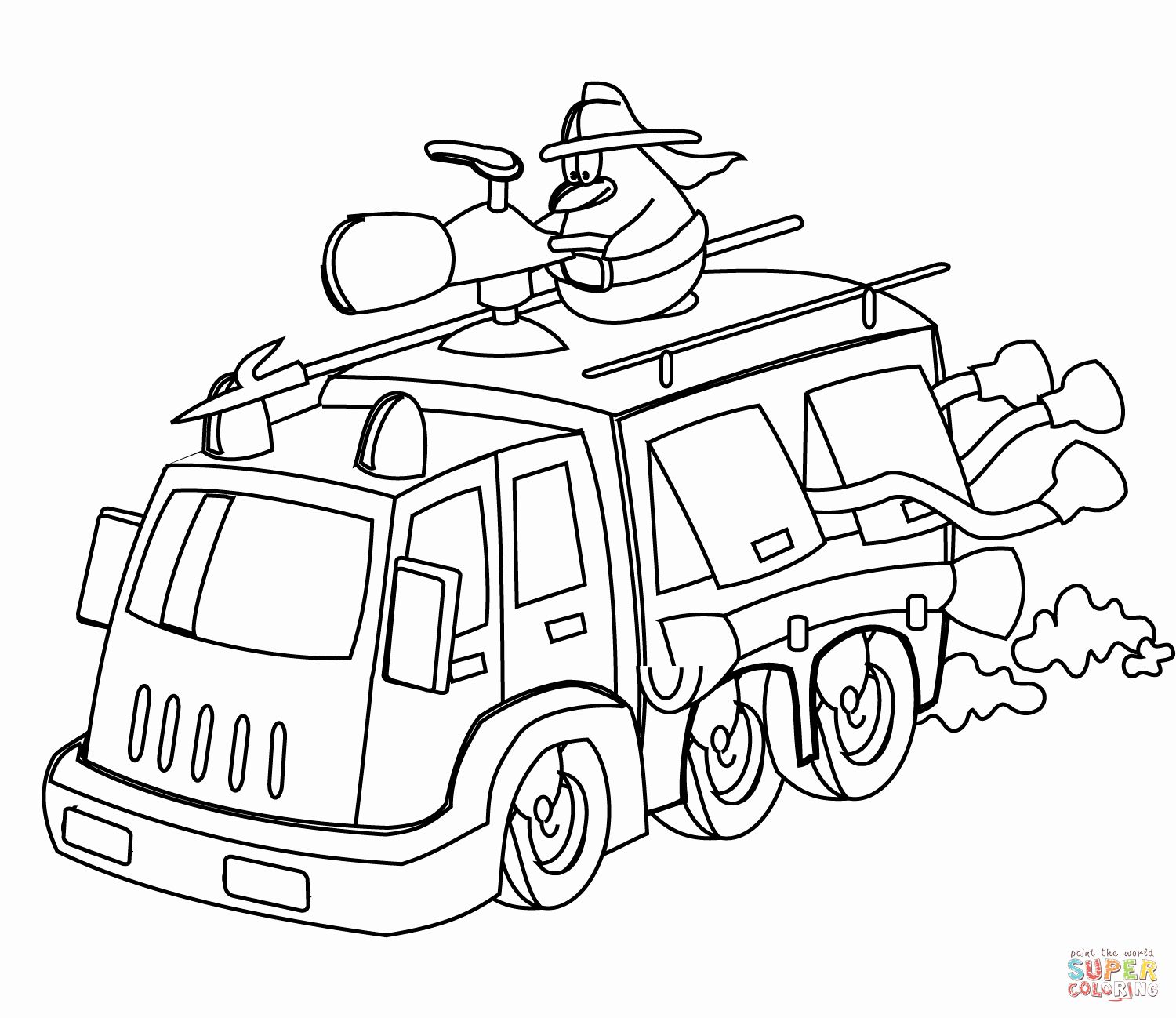 Coloring Page Fire Truck Best Of Cartoon Fire Truck Coloring Page