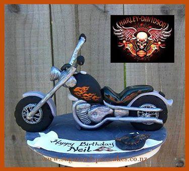 HarleyDavidson Fondant Cakes Harley Davidson Chopper Cake topper