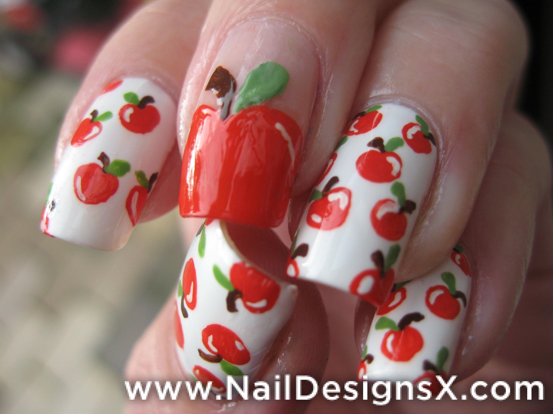 apple 5 nail art fruit design