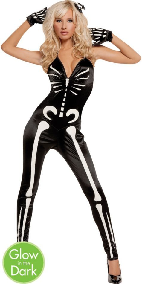 9bf93d7dfce0f Glow in the Dark Sexy Skeleton Costume for Women - Party City ...