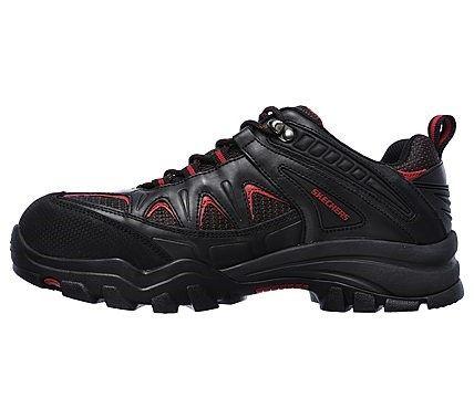Skechers Work Men's Delleker Steel Toe Waterproof Lace Up Shoes (Black/Red)