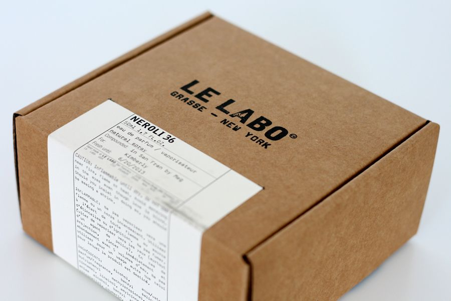 Le Labo Packaging 1, kraft cardboard box with label and black stamp