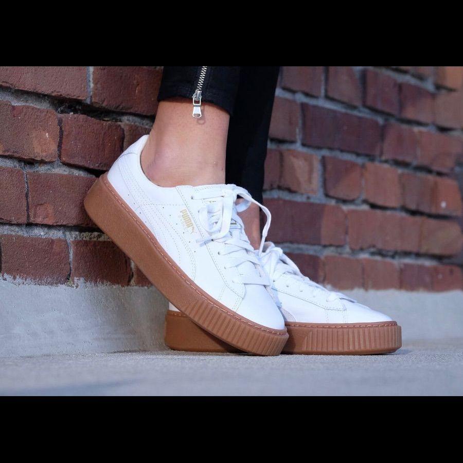 Puma Shoes   White & Copper Rose Puma Basket   Color: White