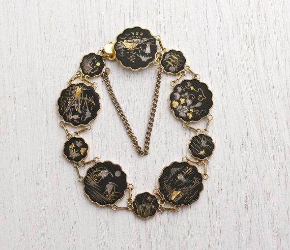 Vintage Damascene Asian Panel Bracelet - Gold & Silver Inlay on Black Tile Japanese Jewelry / Kyoto by Maejean Vintage on Etsy, $40.00