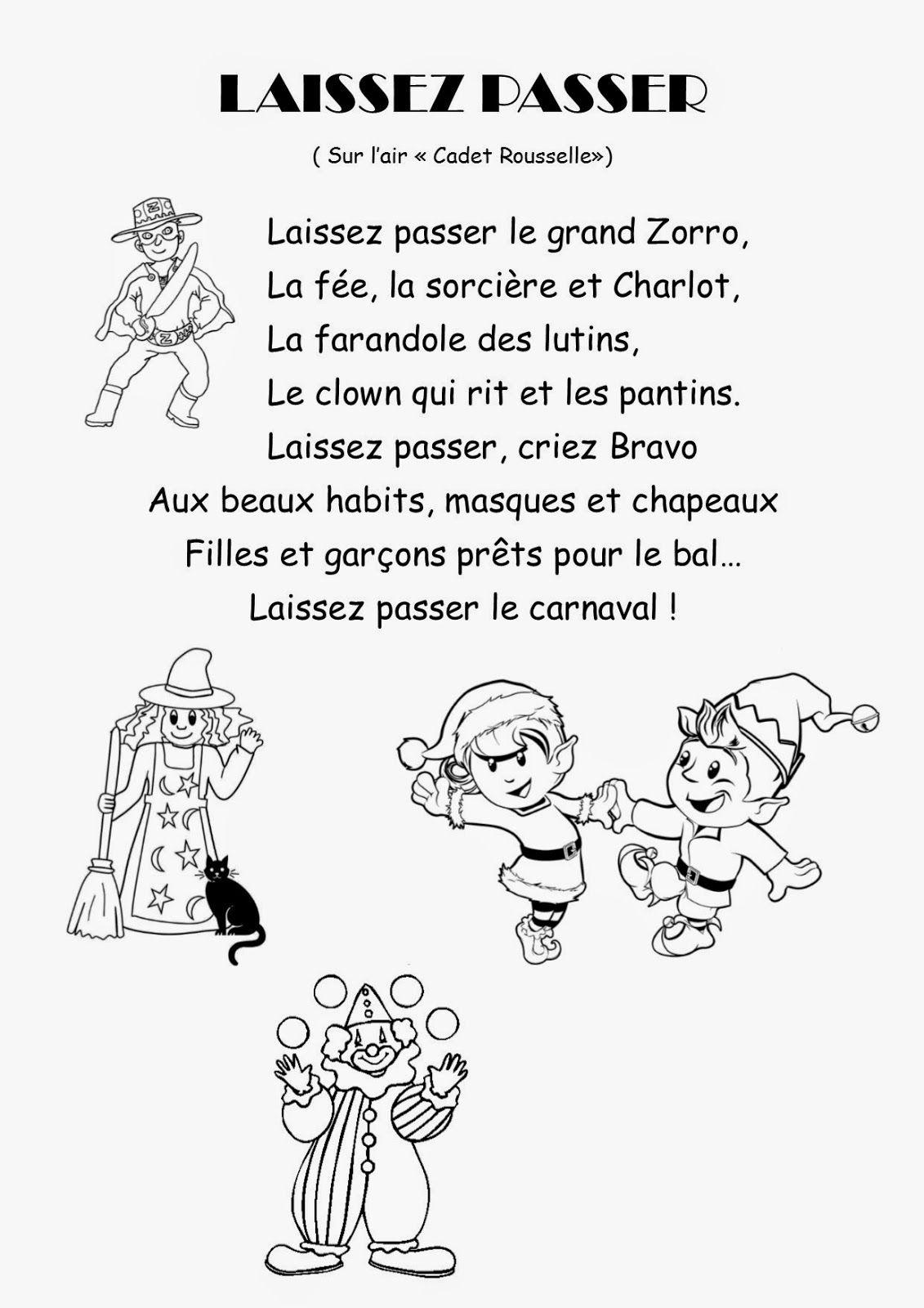 Coloriage Carnaval Ps.Ma Petite Maternelle Comptine 37 Laissez Passer Le Carnaval