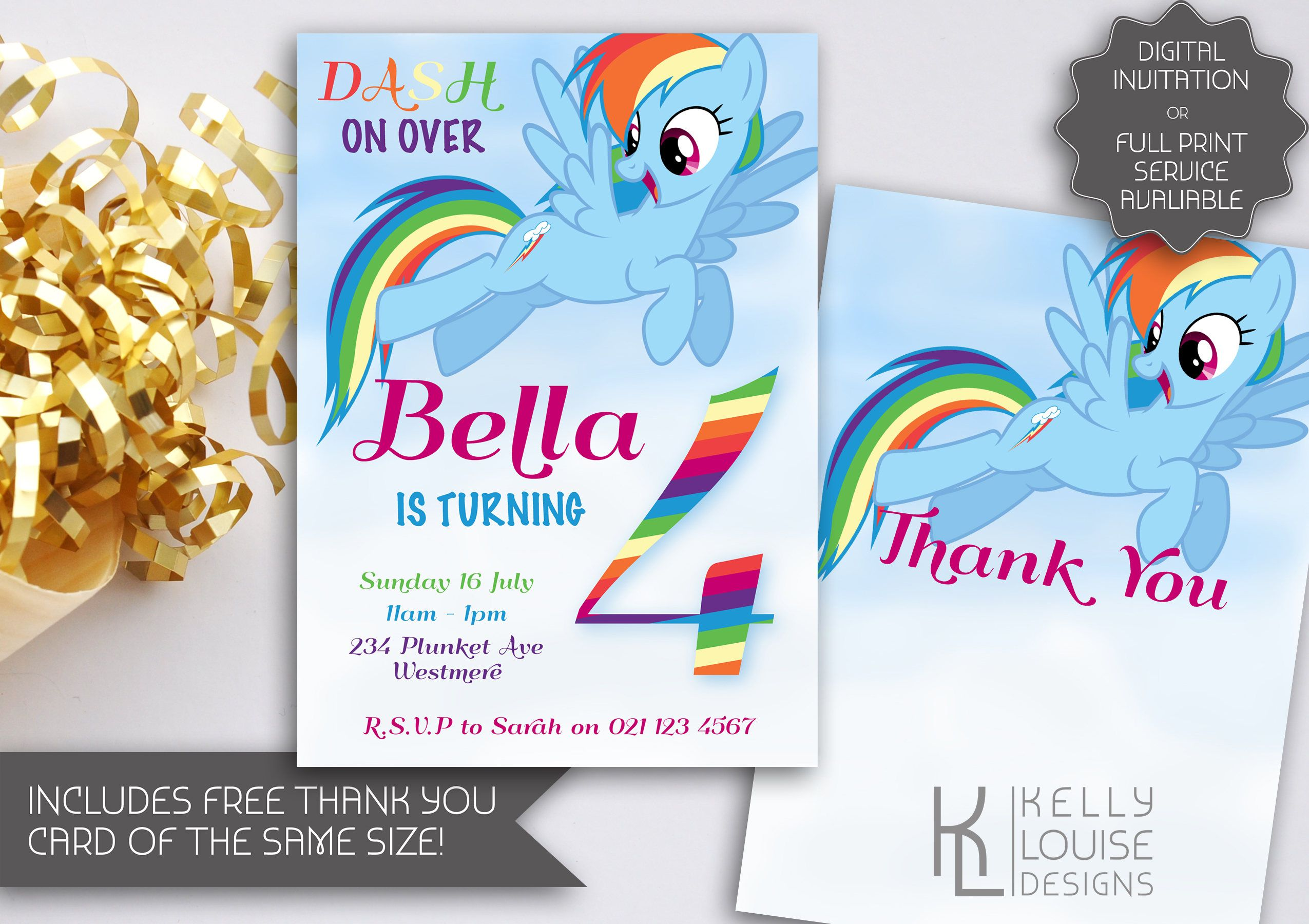 Rainbow Dash Birthday Invitation My Little Pony