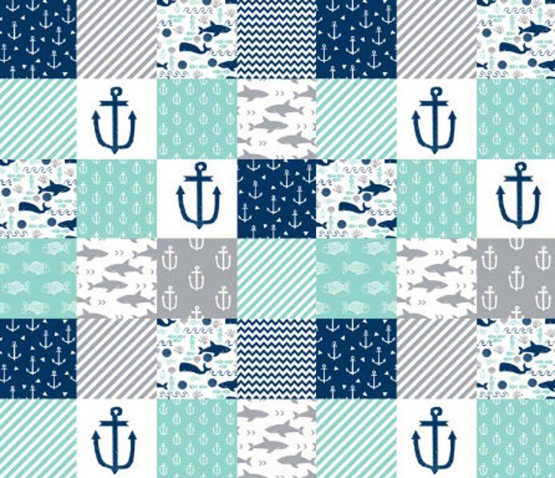Baby Boy Minky Blanket-Nautical shark anchor strip