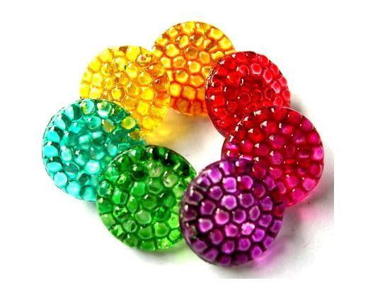 7 Vintage glass buttons flower shape hand painted 7 colors 14mm, Czech