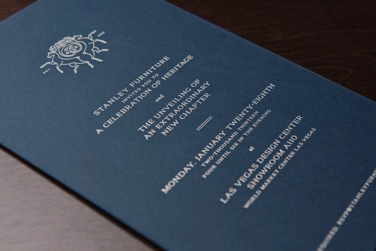 Stanley Furniture, MODE developed invitations to their flagship - fresh invitation cards for new shop opening