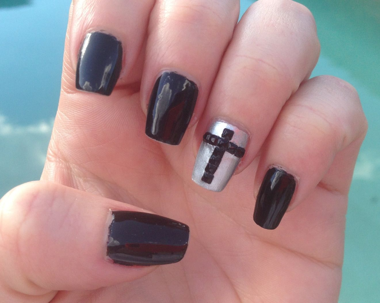 Black and silver nails with cross accent   Nails   Pinterest ...