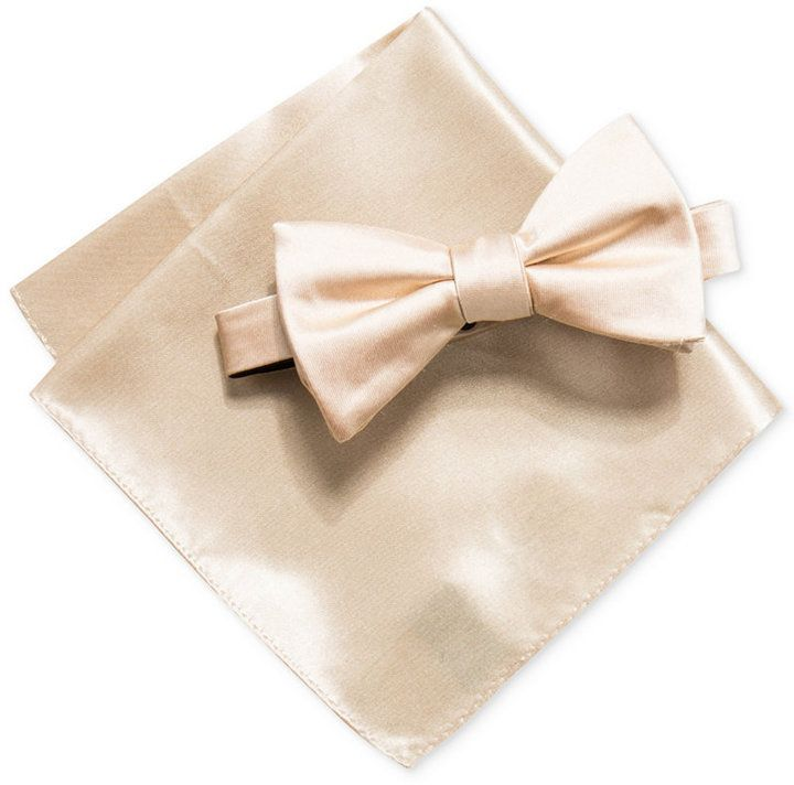 f4160427cc23 Alfani Men's Satin Solid Bow Tie & Pocket Square Set, Created for Macy's