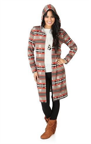 Long Sleeve Aztec Print Duster Cardigan with Hood | Fashion ...
