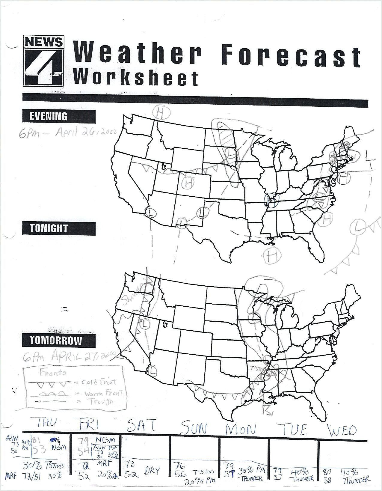 Reading Weather Maps Worksheet Weather Worksheets For 3rd