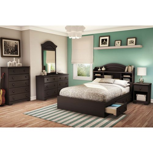 6-Piece Summer Breeze Contemporary Double Bedroom Set - Chocolate Brown 							 							 							- Online Only