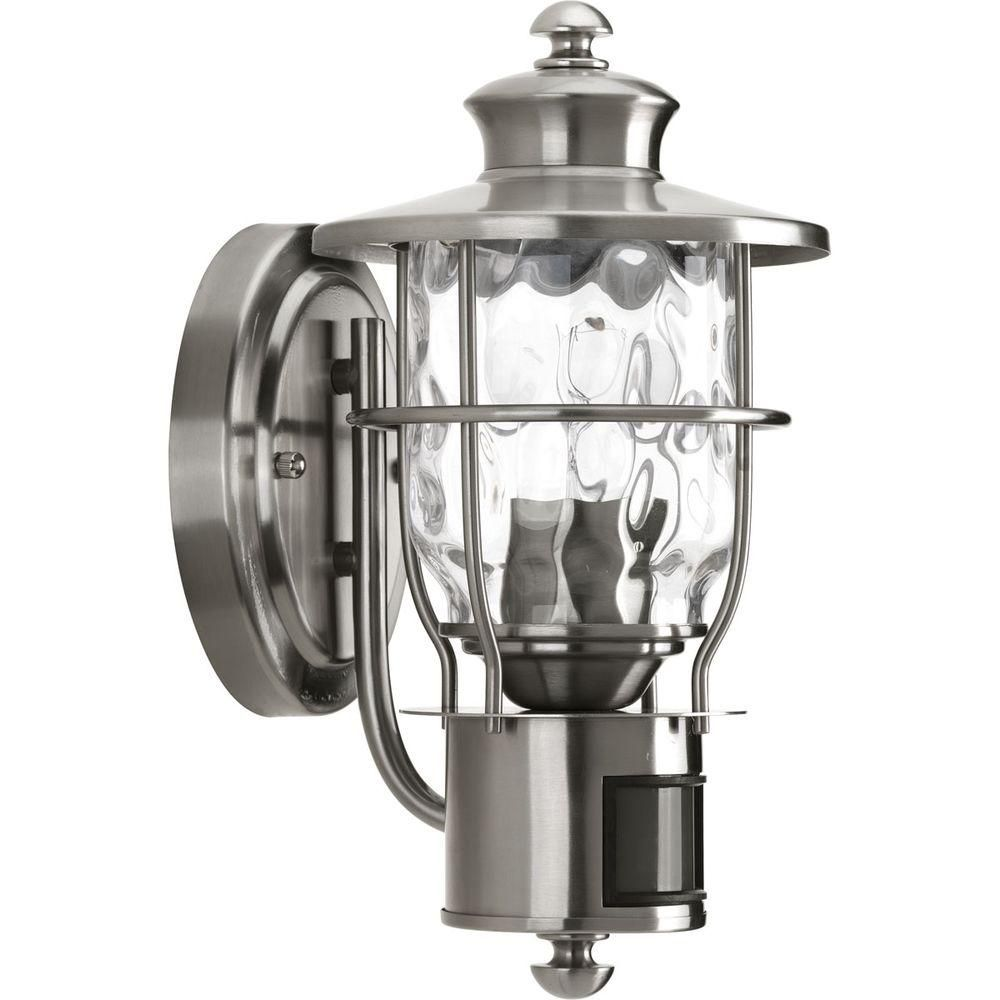 stainless steel outdoor lights flush mount progress lighting beacon collection wallmount 1light stainless steel motion lanternp6025135di at the home depot