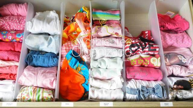 Gaveta grande com divisórias para roupas infantis