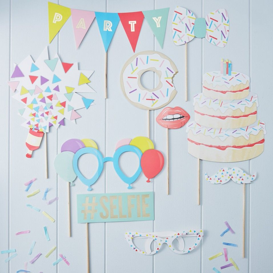 Birthday photo booth props - set of 10