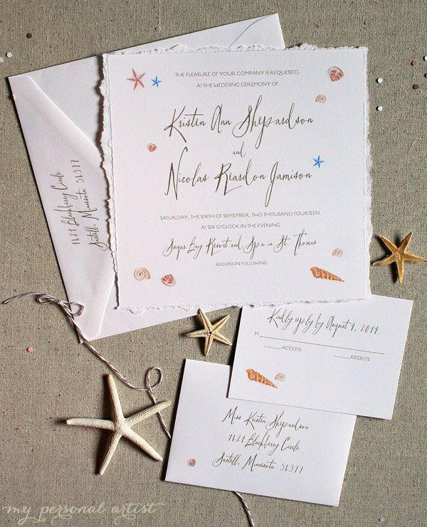 Elegant Beach Wedding Invitations Sprinkled With Watercolor Seashells