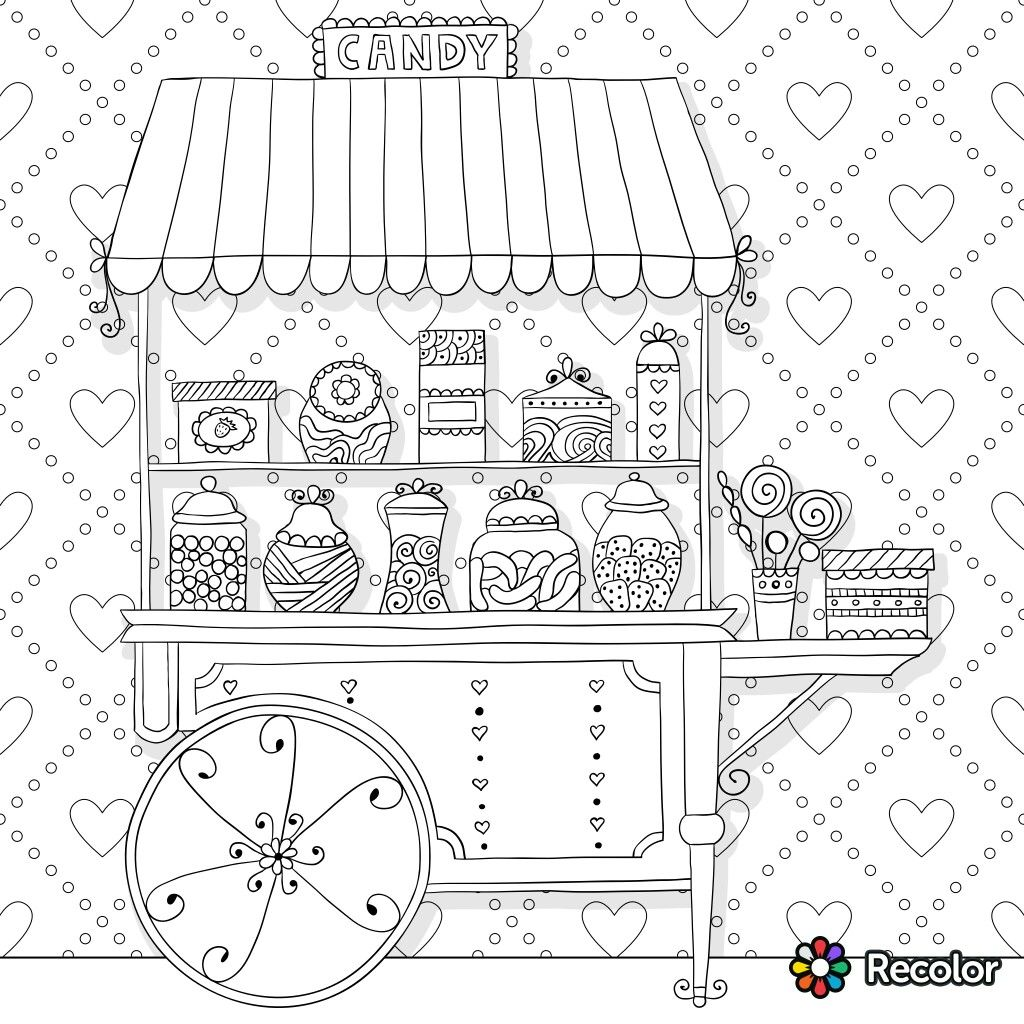 candy cart coloring page for adults