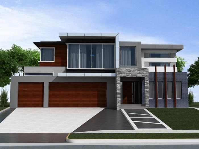 Decorations: Dark Gray Exterior House Color With Modern Wooden .