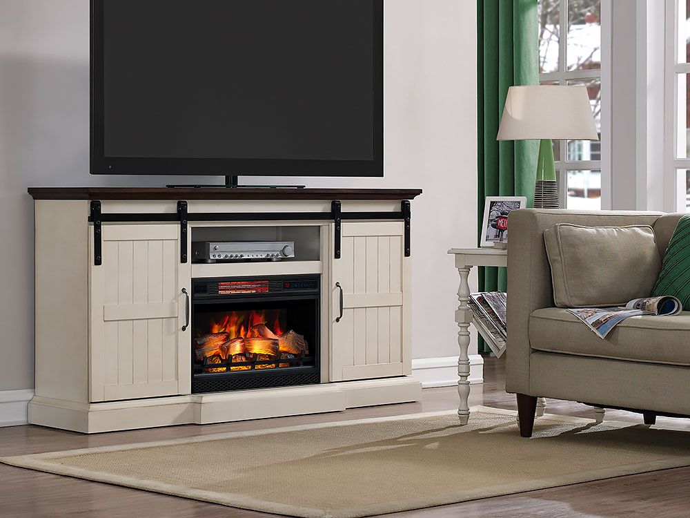 Hogan Electric Fireplace Tv Stand In Weathered White 26mm90273
