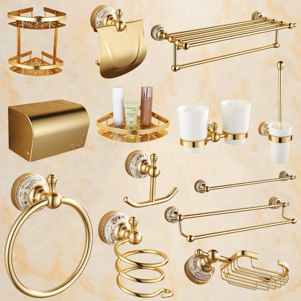 Antique Gold Bathroom Accessories Sets Aluminum Alloy Ceramic Flower ...
