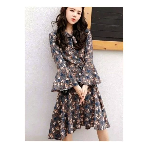 Flare Sleeve Floral Printed High Low Dress ($29) ❤ liked on Polyvore featuring dresses, deep grey, gray dress, floral high low dress, short in front long in back dress, short front long back dress and long floral dresses