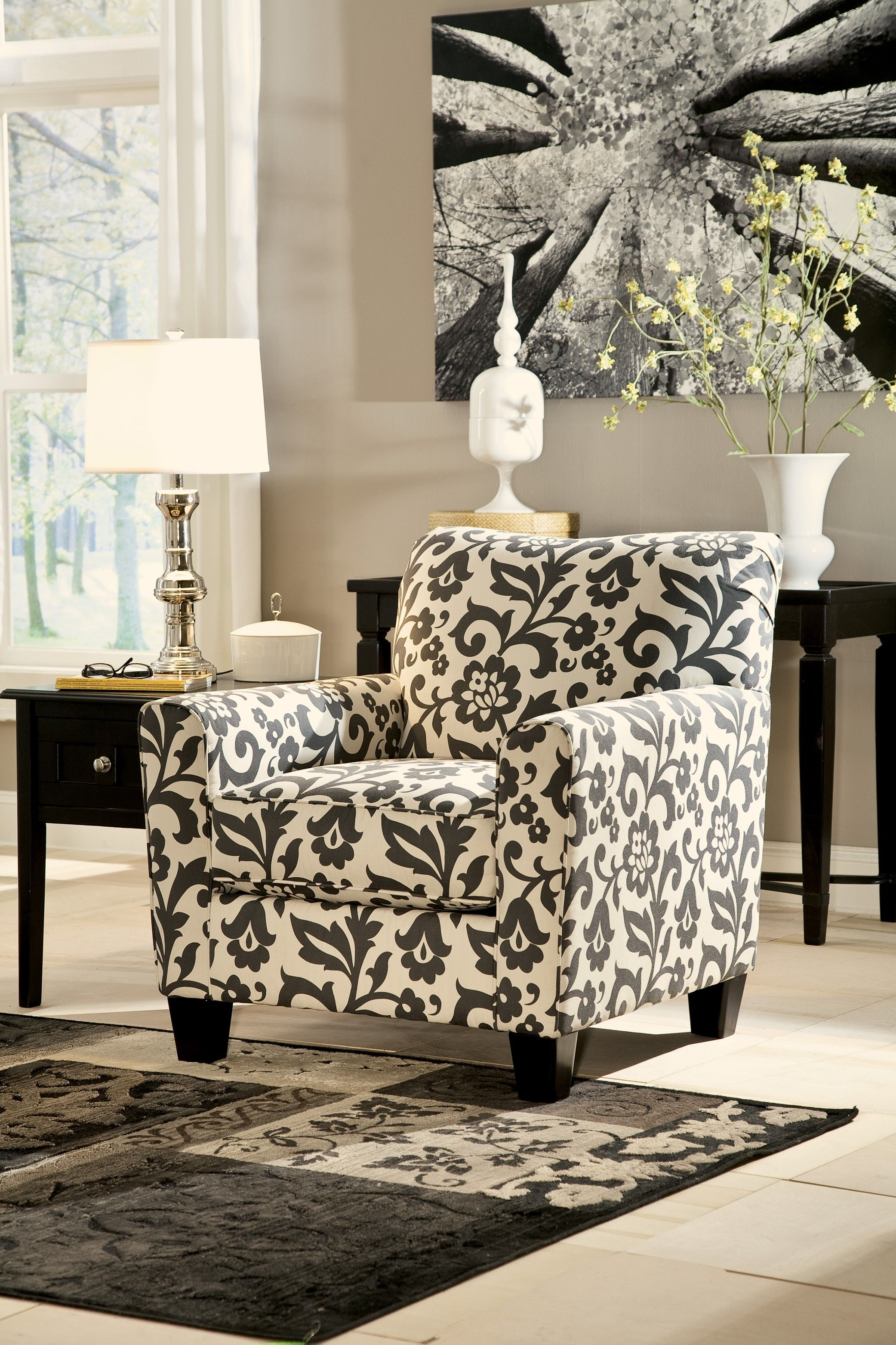 Levon Charcoal Accent Chair Charcoal Accent Chair Printed