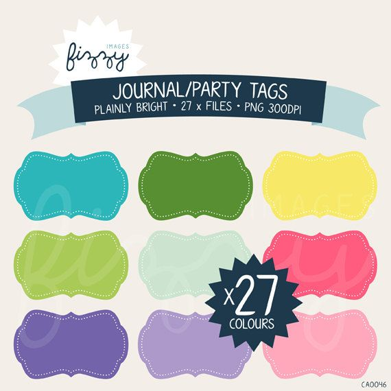 27 x Journal Frames Party Tags Clipart in Bright by FizzyImages, $4.00