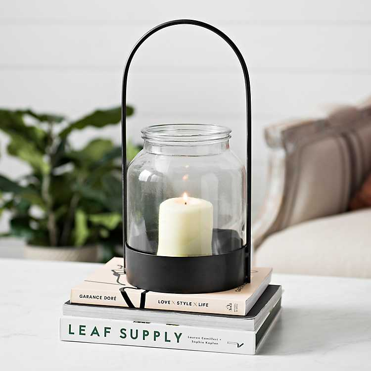 Black Oval Handle Lantern With Glass Hurricane Hurricane Candle Holder Centerpiece Lanterns Selling Candles