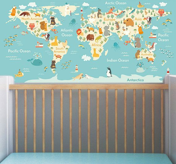 Jungle animals theme world map wall sticker mural removable jungle animals theme world map wall sticker mural removable non woven nursery wallpaper wall art peel and stick x inches gumiabroncs Images