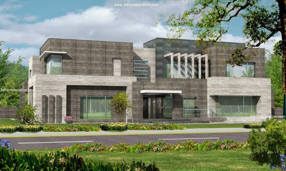 3d Front Elevation Lahore : Karachi kanal modern contemporary beautiful house design