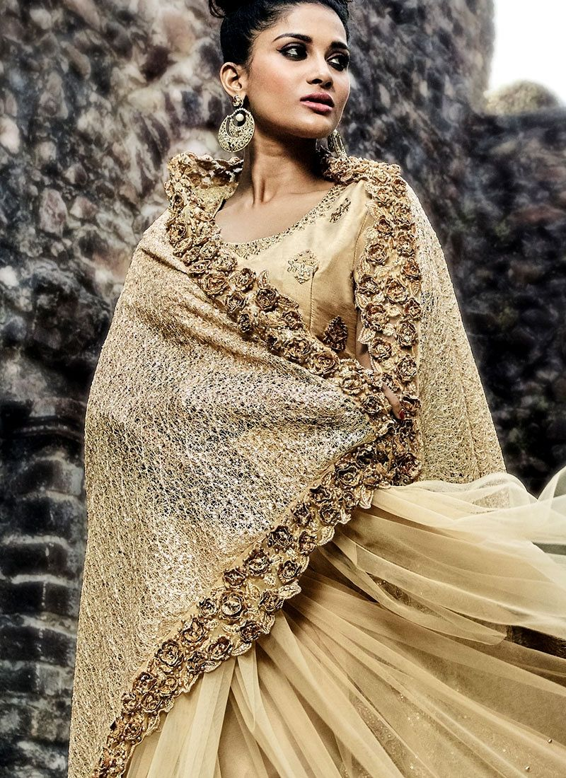 Buy Gold color imported fabric and net wedding wear saree