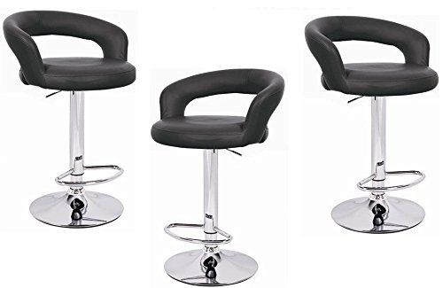 Black Omicron Kitchen Padded Bar Stool Set Of 3 Padded Bar Stools Bar Stools Modern House