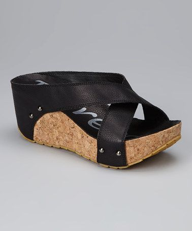 Take a look at this Black Wedge Slide by Henry Ferrera on #zulily today!