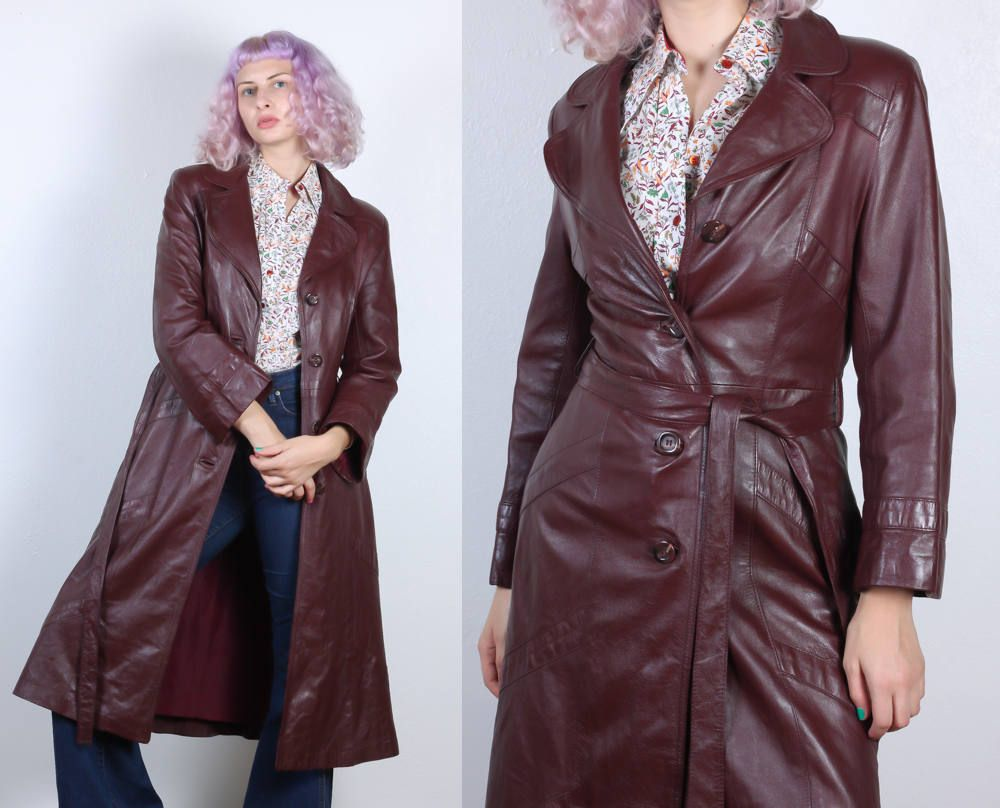 S leather trench coat vintage womenus belted brown womans