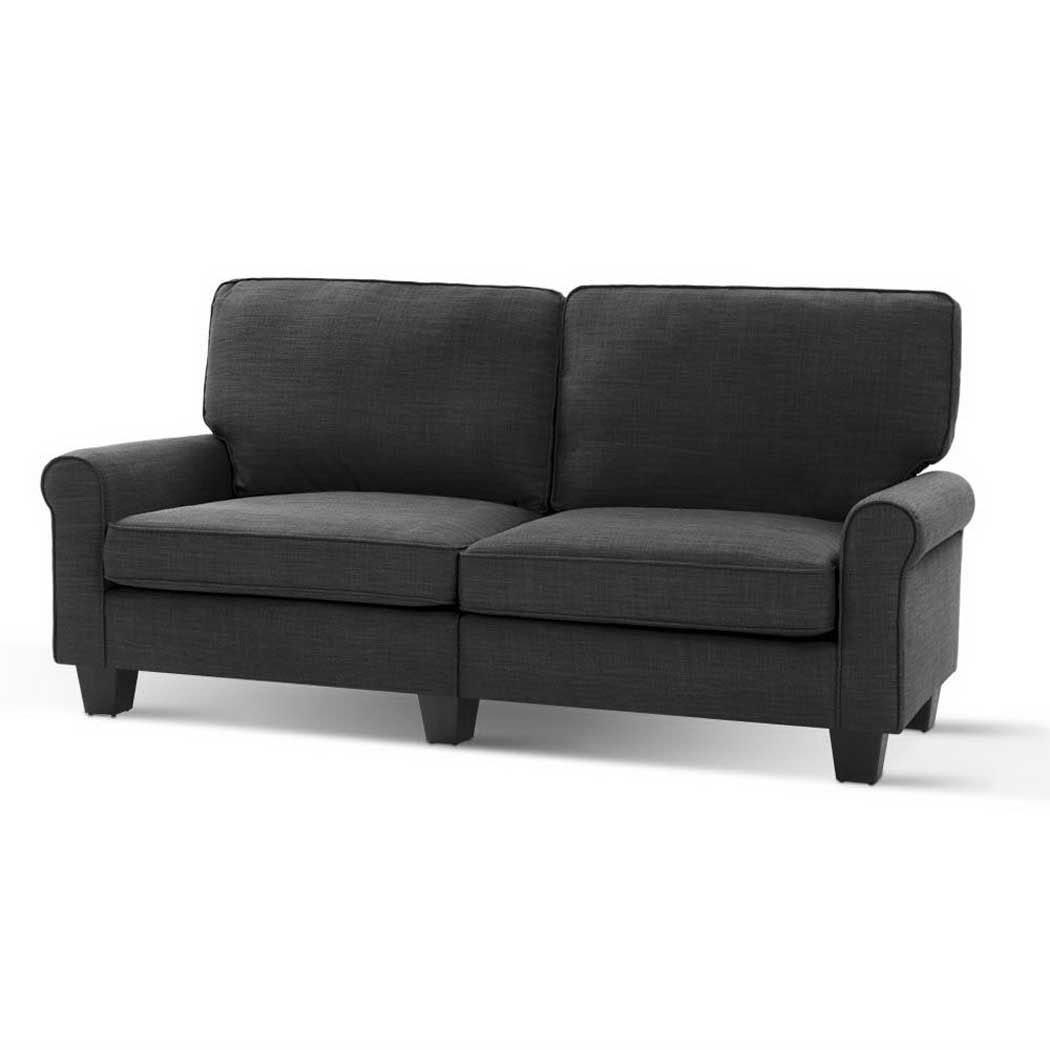 Artiss 1780mm 3 Seater Sofa Suite Lounger Couch Fabric Dark Grey Couch Fabric Seater Sofa 3 Seater Sofa